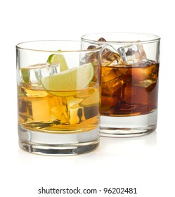 Whiskey and cola cocktails. Isolated on white background