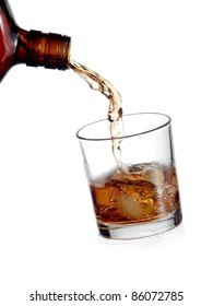Whiskey flow in a cold glass with ice