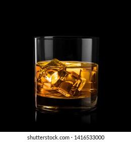 Whiskey glass black background shiny