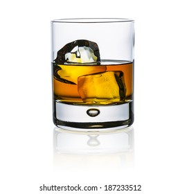whiskey glass with ice cubes rock isolated on white background and reflection alcohol luxury bourbon beverages