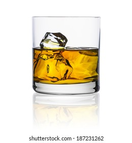 whiskey glass with ice cubes rocks isolated on white background alcohol scotland