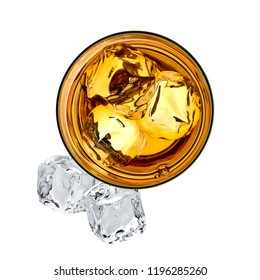 Whiskey in glass isolated on white background. From top view