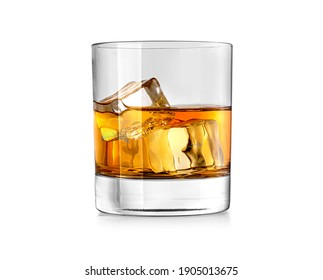 Whiskey glass. Isolated on white with reflection clipping path