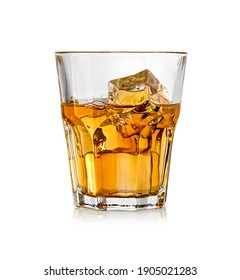 Whiskey glass. Isolated on white with reflection with clipping path