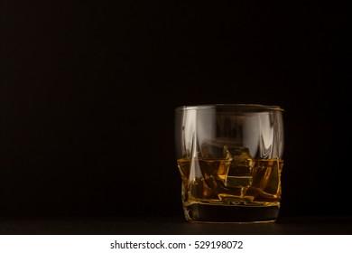 Whiskey glass on dark background