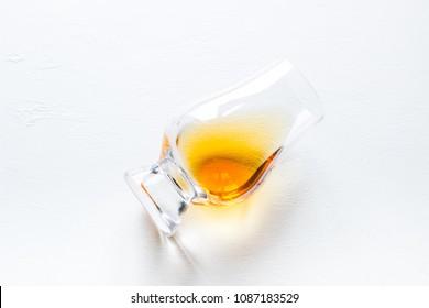 whiskey glass on white background