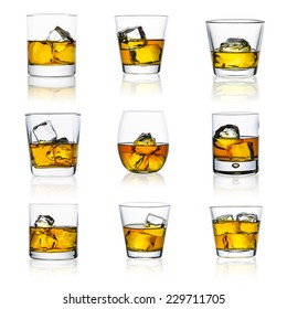 whiskey glasses with ice cubes isolated on white set collage