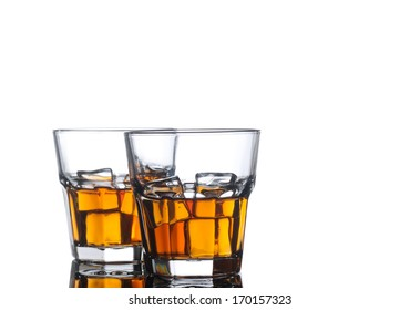 whiskey glasses on white background