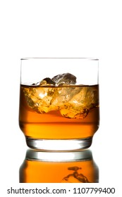 whiskey with ice on white background