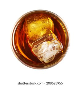 whiskey with ice top view