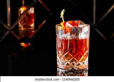 Whiskey with a large cube of ice