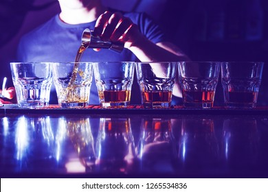 whiskey in a nightclub at the bar close-up