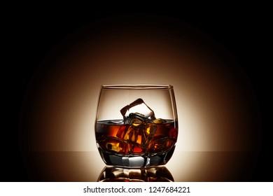 whiskey on black background