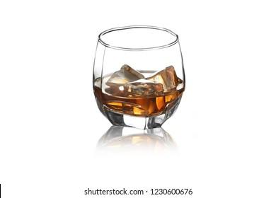 whiskey on white background