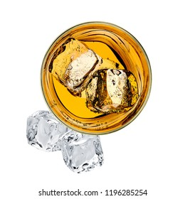 Whiskey in rocks glass from top view isolated on white background