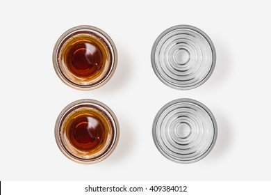Whiskey in shot glass top view