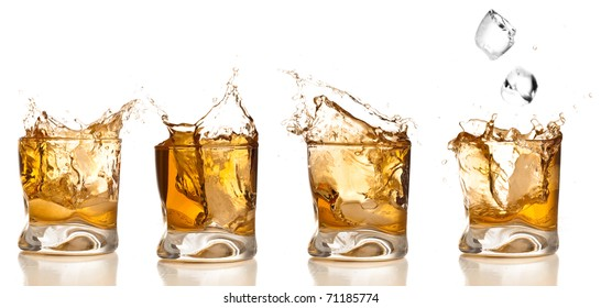 whiskey splash collection isolated on a white background