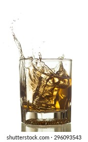 whiskey splash isolated on a white background