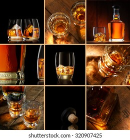 whiskey theme collage composed of different images