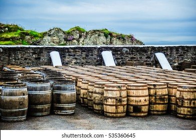 Whisky barrels by the sea, Islay, Scotland