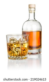Whisky on the rocks with a bottle