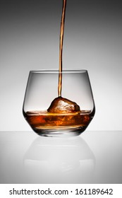 Whisky pouring on ice in glass.