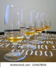 Whisky tasting glasses with varieties of Japanese whisky