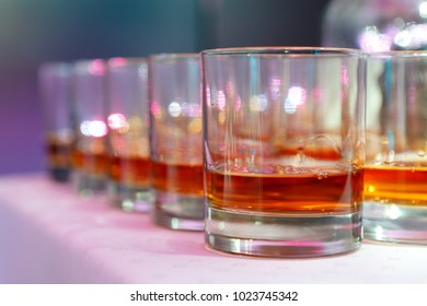 WhiskyGlasses with whiskey in the bar