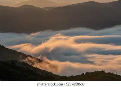 Whispy Clouds Cling to the Blue Ridge Mountains