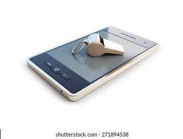 whistle for mobile phone on white background