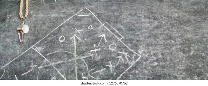 whistle of a soccer referee or trainer on blackboard w. tactical diagram scribble,panoramic, free copy space