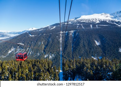 WHISTLER, BC, CANADA - JAN 14, 2019: The Peak 2 Peak connects Blackcomb and Whistler and is the longest free span gondola in the world.