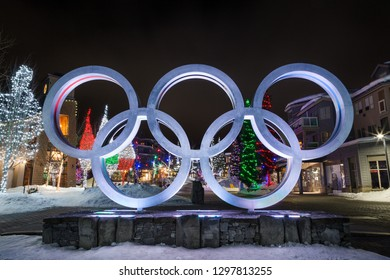 WHISTLER, BC, CANADA - JAN 14, 2019: The olympic rings located in Whistler Village at night.