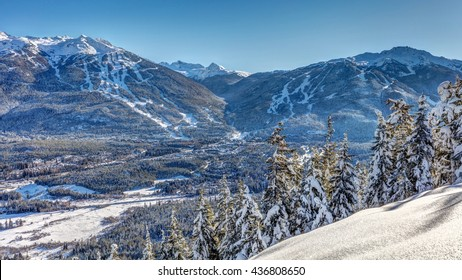 Whistler and Blackcomb mountains in winter