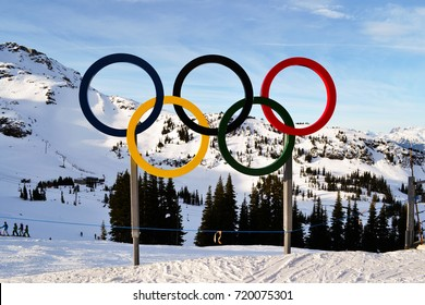Whistler, British Columbia, Canada 2013. The Olympic symbol against the rocky mountains