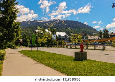 Whistler British Columbia, Canada - June 16 2018: Editorial photograph of views of Whistler village. Whistler village is one of the most popular resorts in the province.