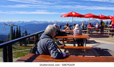 WHISTLER, CANADA - 15 / 09 / 2016 ;  Terrace on top of the Whistler Blackcomb mountain . From this point you have a spectaculair view over the city of Whistler  and the surrounding mountains