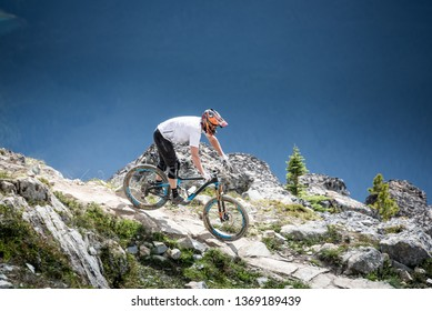 WHISTLER, CANADA - AUGUST 07, 2016: Top Of The World trail in Whistler Bike Park.Bike Park is famous for and drops it on the Peak of Whistler Mountain