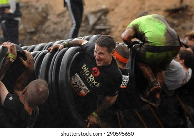 WHISTLER, CANADA - JUNE , 2015: Competitors participate in the 2015 Spartan Race obstacle racing challenge in Vancouver, Canada, on June 20, 2015.