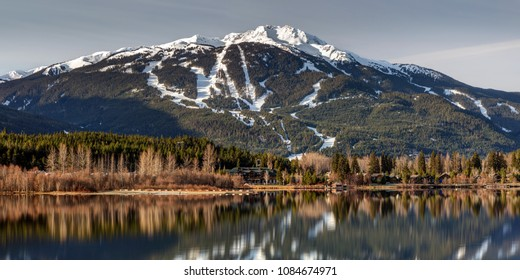 Whistler Mountain Reflection Panorama from Green Lake