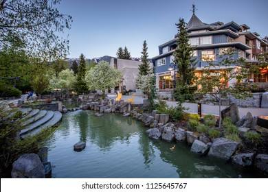 Whistler village in British Columbia, Canada at dusk.