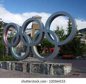 WHISTLER VILLAGE - JUL 12: Olympic rings in Whistler Village, site of the 2010 Winter Olympics and Paralymics. Taken July 12, 2011 in Whistler Village, British Columbia, Canada.