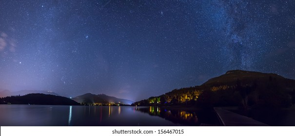 Whistler's Alta lake at night under milky way