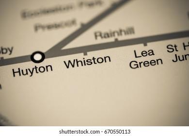 Whiston Station. Liverpool Metro map.