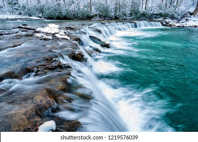 Whitaker Falls in winter, Elk River, Webster/Randolph County line, West Virginia, USA