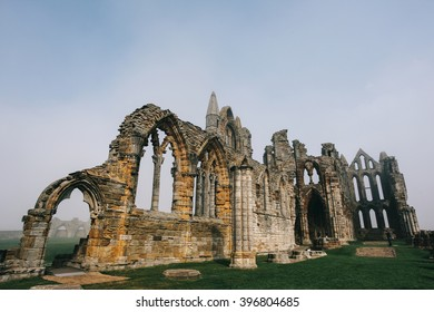 Whitby Abbey castle a ruined Benedictine abbey sited on Whitby's East Cliff in North Yorkshire on the north-east coast of England.UK