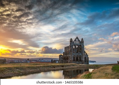 Whitby Abbey Evening Light - landscape image of the abbey ruins against a dramatic evening sky
