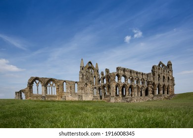 Whitby Abbey also known as Dracula's Castle with Blue Sky