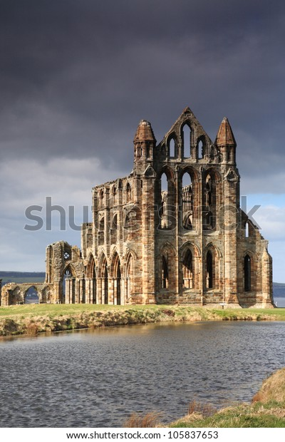 Whitby Abbey lit by the sun North Yorkshire England