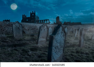 Whitby Abbey, Yorkshire, UK. Gothic abbey and cementary which inspired Bram Stoker to write his most famous novel Dracula